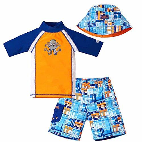 (UV Skinz Boys' 3-piece Swim Set, UPF 50+ Sun Protection, Size 6, Orange Madras)