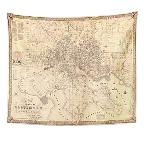 Semtomn Tapestry Artwork Wall Hanging Vintage Map of Baltimore Sidney Neff City Plans 50x60 Inches Tapestries Mattress Tablecloth Curtain Home Decor Print