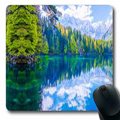 Pandarllin Mousepads Valley Mountain Forest Lake Summit Reflection Nature Parks Outdoor Terrain Oblong Shape 7.9 x 9.5 Inches Oblong Gaming Mouse Pad Non-Slip Rubber Mat