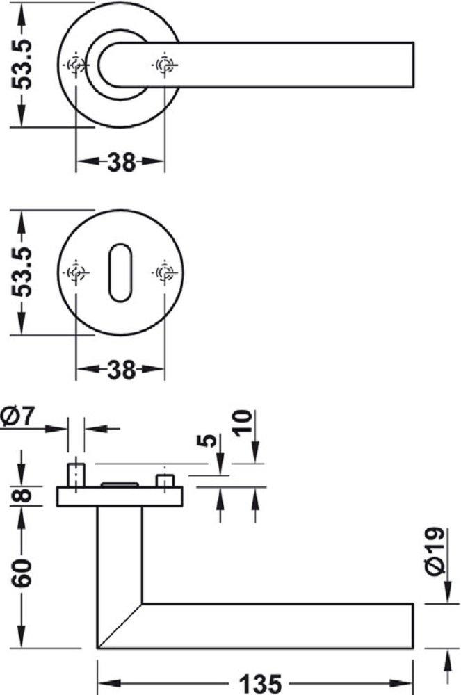 Wechselgarnitur DIN RECHTS Design T/ürbeschlag Edelstahl Dr/ückergarnitur auf Rund-Rosette f/ür Zimmert/üren 1 Set LDH 2171 Messing PVD-beschichtet T/ürgriff mit T/ürknopf mit Befestigungsmaterial