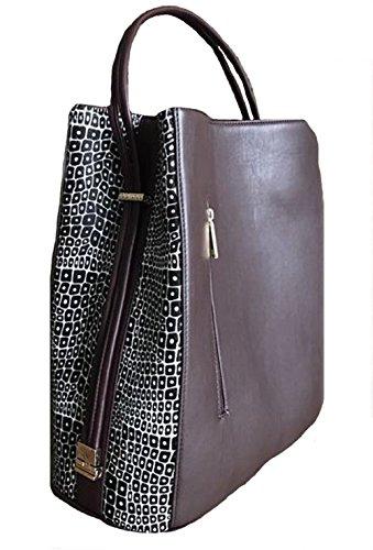 'Keva' Mocha Leather with Black and Creme Haircalf Panels Handbag by Samoe Style