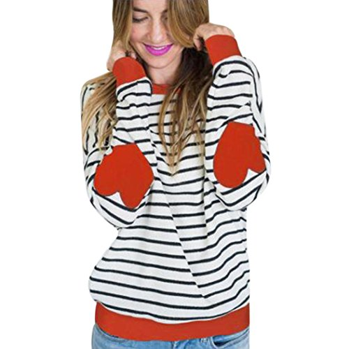 Minisoya Women's Casual Long Sleeve Striped Sweatshirt Heart Printed Blouse Long Tops Shirt (Orange, M) ()