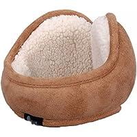 Surblue Classic Warm Kint Foldable Stripe Earmuffs with Fur Earwarmer Woolen Earmuffs, Adjustable Warp