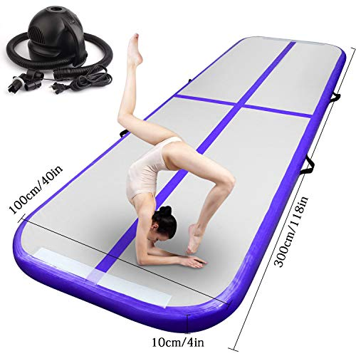 FBSPORT 10ft/13ft/16ft/20ft/23ft/26ft Inflatable Gymnastics Airtrack Tumbling Mat Air Track Floor Mats with Electric Air Pump for Home Use/Training/Cheerleading/Beach/Park and Water (Purple, 10)