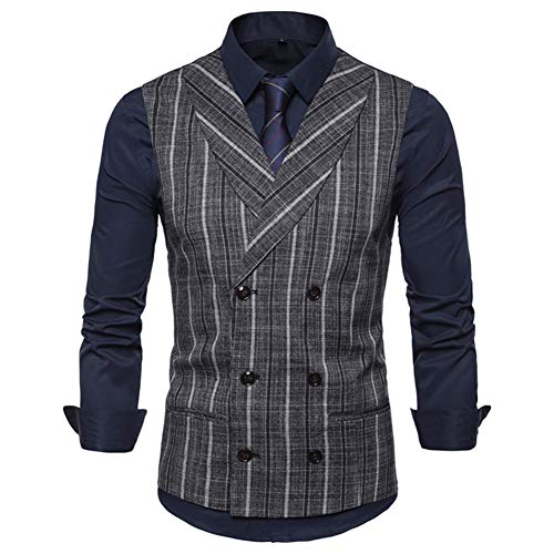 Keepline Men's Striped Tweed Suit Vest Double-Breasted Casual Waistcoat Shawl Lapel Business Suit Vest Dark Gray, Small