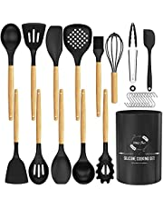 Kitchen Utensils Set, HKJ Chef Silicone Cooking Utensils 15 pcs, Non-Stick Non-Toxic Heat Resistant Cookware with Holder & Wooden Handle,Silicone Kitchen Gadgets Utensil Set