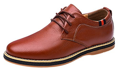 Mohem Darren Men's Premium Genuine Leather Lace-up Oxfords Shoes(1687008R.Brown46)