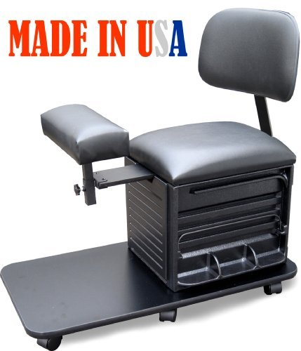 2318 Salon Spa Pedicure Station Stool with Footrest & Bac...