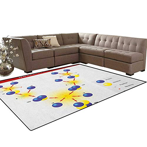 Educational,Floor Mat,Nuclear Fusion Proton Neutron Chain Hydrogen Cosmic Energy Molecule Atom,Soft Area Rugs,Blue Red Yellow Size:5'x8'