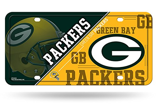 Green Bay Packers License Plate - Rico NFL Green Bay Packers Metal License Plate Tag, 6