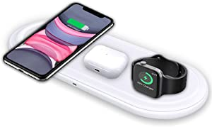 Kekodeepfun Wireless Charger, 3 in 1 Wireless Charging Stand Pad for Apple Watch iPhone Airpods, Wireless Charging Station for iPhone 12/11/Pro/X/XR/Xs/8 Plus Apple Watch Charger 5 4 3 2 1Airpods2 Pro
