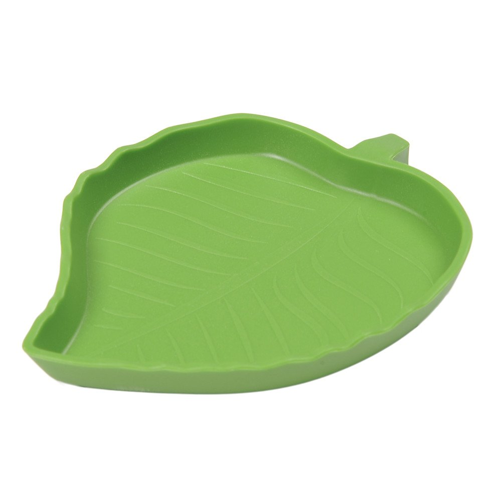 Sundautumn Cuenco de agua para tortuga o reptil, diseño de hoja (tamaño S)