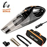 Automotive : [Upgraded] Car Vacuum Cleaner with LED Light, HOTOR DC12-Volt Wet/Dry Portable Handheld Auto Vacuum Cleaner for Car,16.4FT(5M)Power Cord with Carry Bag(Black)