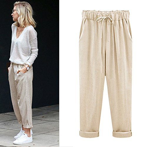 M-xl ズボン レディースプラスサイズ 女性 パンツ リネンコットンカジュ アルハーレム パンツ キャンディーカラー原宿グリーンズボン女性の足首の長さの長さパンツ