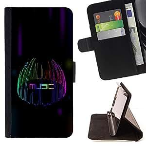 BullDog Case - FOR/Samsung ALPHA G850 / - / Music Lights /- Monedero de cuero de la PU Llevar cubierta de la caja con el ID Credit Card Slots Flip funda de cuer