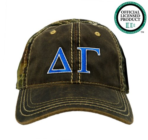 Delta Gamma (DG) Embroidered Camo Baseball Hat, Various Colors