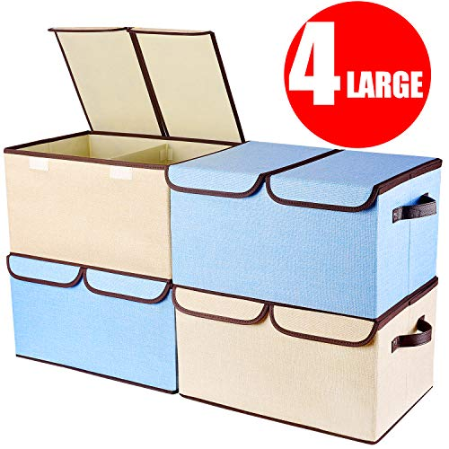 "Larger Storage Cubes [4-Pack] Senbowe Linen Fabric Foldable Collapsible Storage Cube Bin Organizer Basket with Lid, Handles, Removable Divider For Home, Office, Nursery, Closet – (17.7 x 11.8 x 9.8"")"