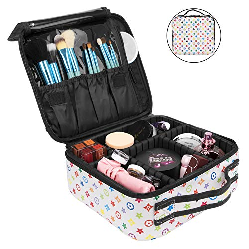 NiceEbag Travel Makeup Bag Cosmetic Bag for Women Girls Professional Train Case Leather Cosmetic Storage Organizer with Removable Dividers for Cosmetics Make Up Tools, Large & Cute & DIY, - Removable Divider