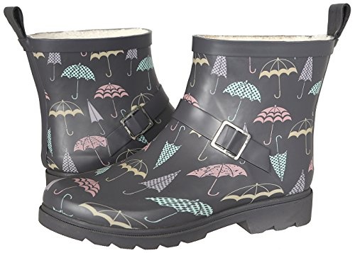 Capelli New York Ladies Shiny Umbrella Day Printed Short Sporty Lined Rainboot Grey Combo 8 (Umbrella Rain Boots compare prices)