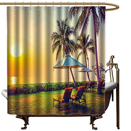 Fabric Shower Curtain for Bathroom Seaside,Empty Umbrella and Chairs on the Beach Palm Trees at Twilight Times Vacation Theme,Multicolor,Durable Waterproof Fabric Bathroom Curtain 47
