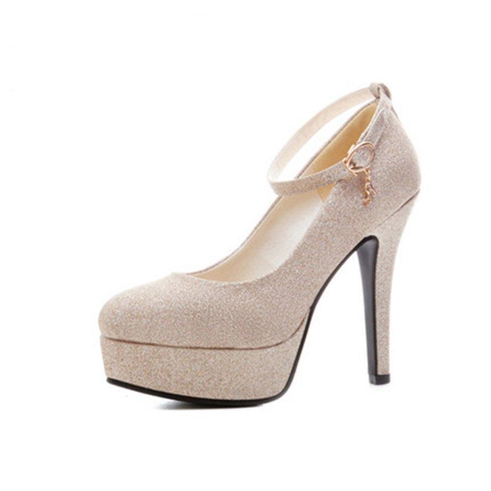 Pumps XUERUI Die Schuhe der sexy Nachtklubfrauen mit super-Heeled wasserdichter Plattformnachtklub beschuht Goldene Hochzeitsschuh-Brautjunferschuhe (größe   EU39 UK6 CN39)