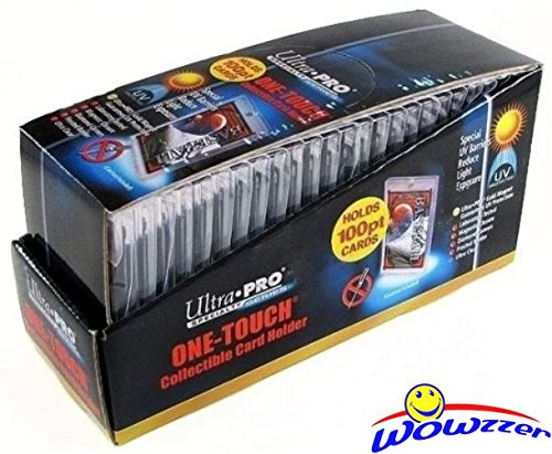 Box of (25) Ultra Pro One Touch Magnetic Card Holders # 81911UV (Fits up to 100pt Card). Holds Standard Size Baseball, Football, Sports Cards, Gaming & Trading Cards Collecting Supplies! (Ultra Pro Baseball Card)