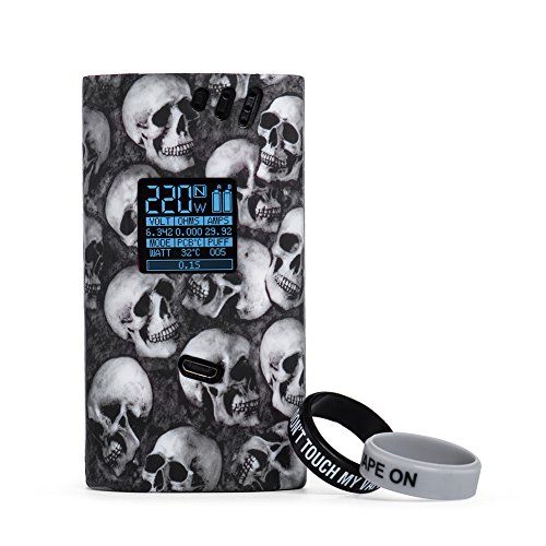 Smok Alien 220W Case Protective Silicone Case for Smoktech Alien 220W with 2 Pcs Silicone Ring(Skull Black)