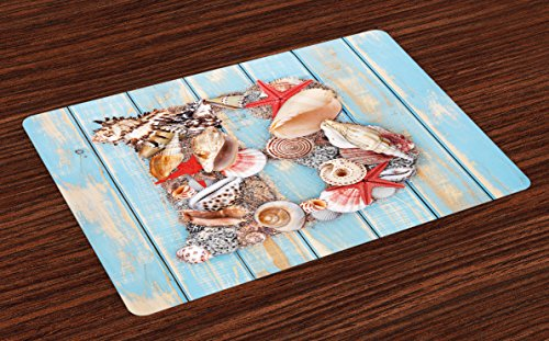 Ambesonne Letter B Place Mats Set of 4, Alphabet ABC Ocean Theme Elements Starfish Seashell Pale Color, Washable Fabric Placemats for Dining Room Kitchen Table Decor, Pale Blue Ivory Dark ()