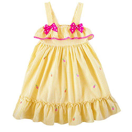 Sundress Seersucker (Good Lad 2/6X Girls Yellow Seersucker Sundress with Embroideries (5))