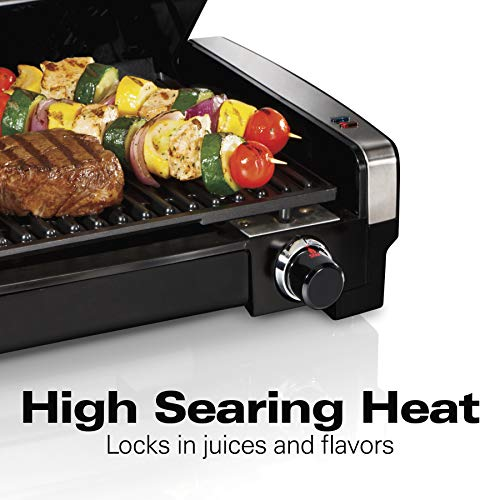 Hamilton Beach 25360 Indoor Searing Grill with Removable Easy-to-Clean Nonstick Plate, Extra-Large Drip Tray, Stainless Steel