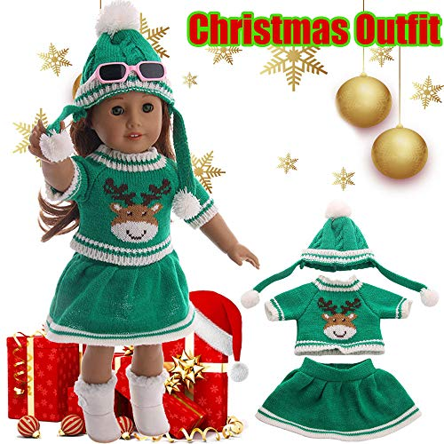 LtrottedJ Christmas Sweater Reindeer Outfits for 18 inch Our Generation American Girl Doll (Green)