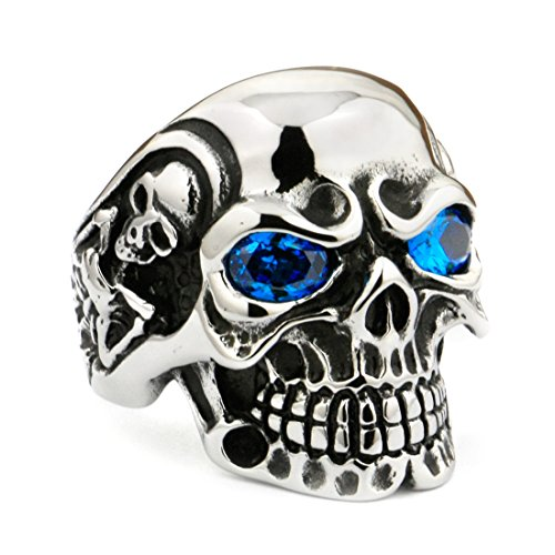 LINSION Skull Ring With Blue Eyes of 316L Steel Stainless, CZ Titan High Smooth Polished Black Silver Tone Rings For Biker Boys Rocker Ring 3A201 (14)