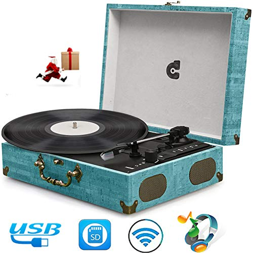 Record Player Turntables for Vinyl Records Suitcase Portable Record Player with Speakers Vinyl Record Player Wireless Turntable Vinyl Player Vintage Record Player Support USB SD Phonograph