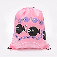 Drawstring Gym Bag Waterproof School Library Swimming Travel Kids Sport Backpack Pink Fish