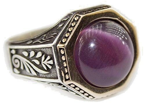 Falcon Jewelry Sterling Silver Men Ring Handmade, Amethyst Natural Gemstone, Byzantine Empire Ring