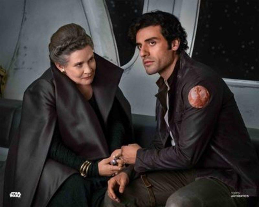 The Last Jedi 8x10 Official Photo Carrie Fisher and Oscar Isaac as General Leia Organa and Poe Dameron in Star Wars Star Wars Authentics