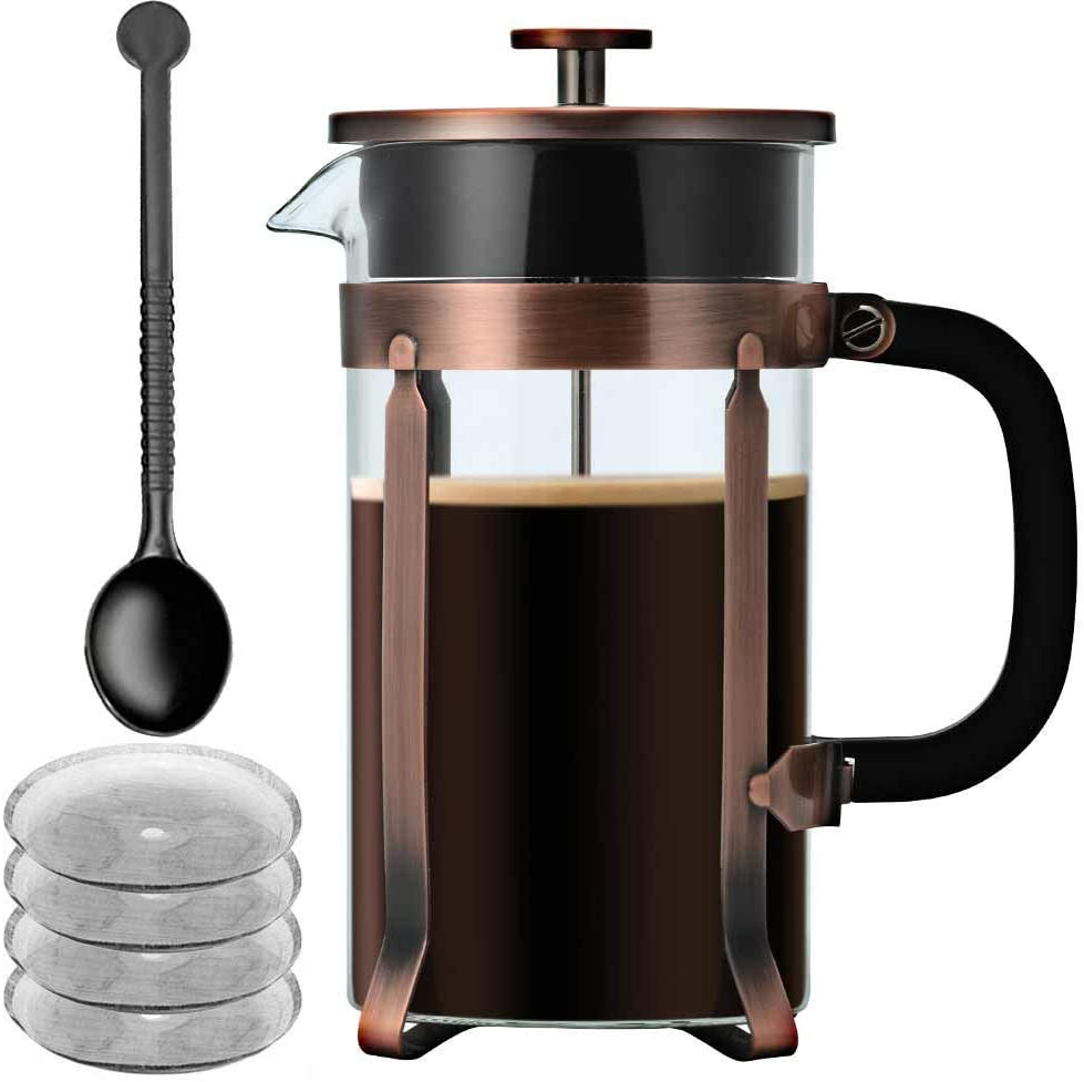 French Press Coffee Maker, IDEALHOUSE 34 oz 1 Liter 8 Cups Glass Coffee Press Tea Press with 4 Filter Screens, Press Coffee Pot with Heat Resistant Borosilicate Glass, Durable and Eaasy Clean