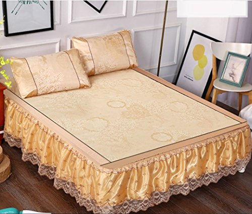 High-grade Lace Bed Skirt Mat Three-piece 1.8m Bed Removable Folding Summer Bed Mat 1.5 M-sheet ZXCV (Color : 5, Size : 150200cm) by BEIRU