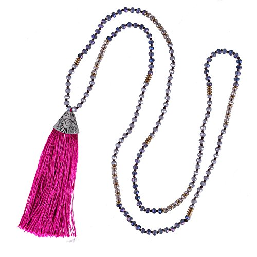 Beaded Necklace Fish (KELITCH Crystal Beaded Strand Necklace Handmade Fish Mouth Tassel Pendant Charm Necklace For Women (Dark Pink))