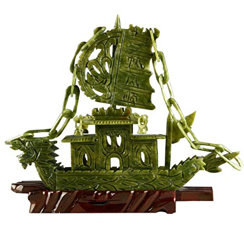100% Natural Chinese Xin Yi Jade Sculpture Carved Dragon Boat Statue Collectable As Gift