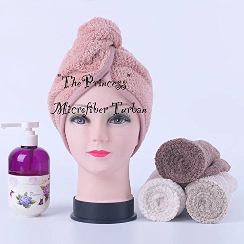 ThePrincess® 1 sets of 2(Pink, Beige)Hair Drying Towel Japanese Polyester Super Absorbent Quick-drying Bath Towel Hair Dry Cap Salon Towel Christmas Gift