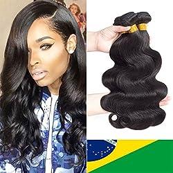 "Brazilian Virgin Hair Body Wave 3 Bundles 10"" 12"" 14"" 300g 9A Grade Unprocessed Virgin Human Hair Remy Hair Bundles Natural Color"