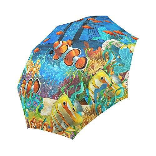 InterestPrint Tropical Coral Reef Fishes Ocean Sea Life 100% Polyester Pongee Windproof Fabric Travel Umbrella, Compact Automatic Open and Close Folding UV and Rain - Tropical Gift Fish