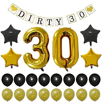 Dirty 30 dirty thirty birthday party balloons for 30th birthday decoration packs