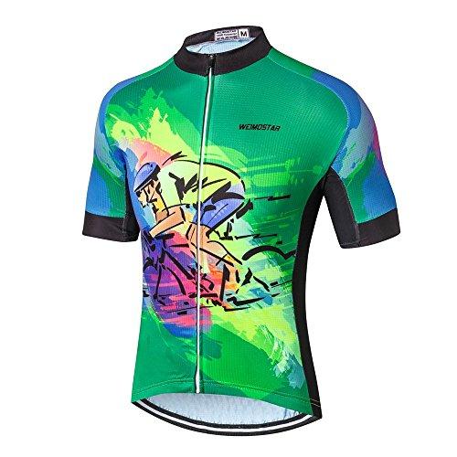 Jersey Biking Clothing Cycling Yellow Men's Green Weimostar Bike Sleeve Short H29YDWEI