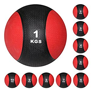 POWRX Medizinball Fit Ball Gymnastikball Schwarz / Rot, Kunststoff mit...