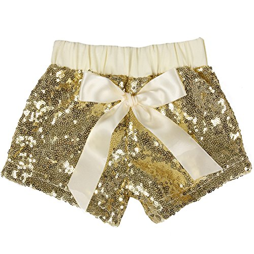 Cilucu Baby Girls Shorts Toddler Sequin Shorts Sparkles on Both Sides Gold 2T]()
