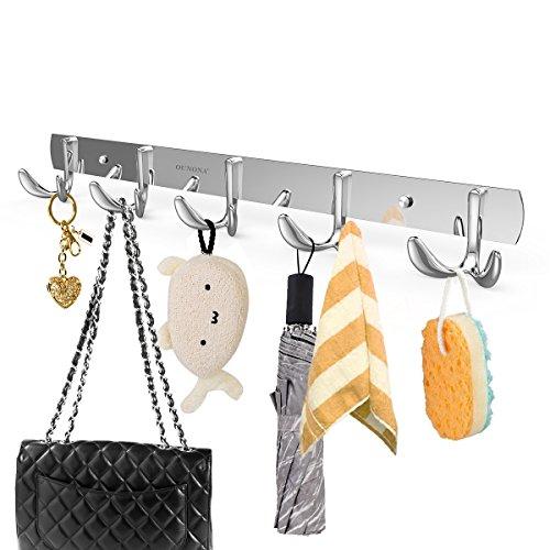 OUNONA Wall Mount Hook Rack, Stainless Steel Coat Rack Coat Hooks with 5 Heavy Duty Hanger Hooks, Hook Rail for Towel Bag Clothes, 17.32-Inch