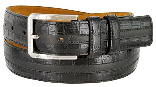 Gold Crocodile Belt (Hagora Men Real Italian Calfskin Crocodile Skin Texture 1-3/8