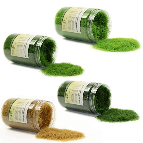 CFA4 4 x 300ml Mixed 12mm Static Grass Terrain Powder Green Fake Grass Fairy Garden Miniatures Landscape Artificial Sand Table Model Railway Layout